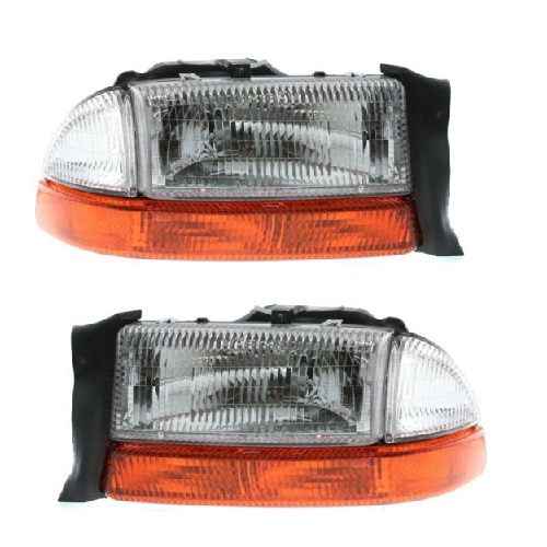 2221 0012b 1997 2004 Dakota Combo Headlight Emblies Pair 119 95